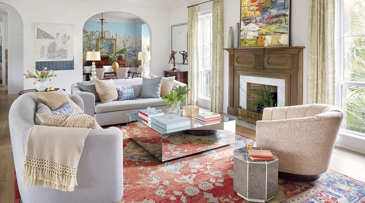 Jenny Keenan Designed Living Room for Her Parents House in Mount Pleasant, SC