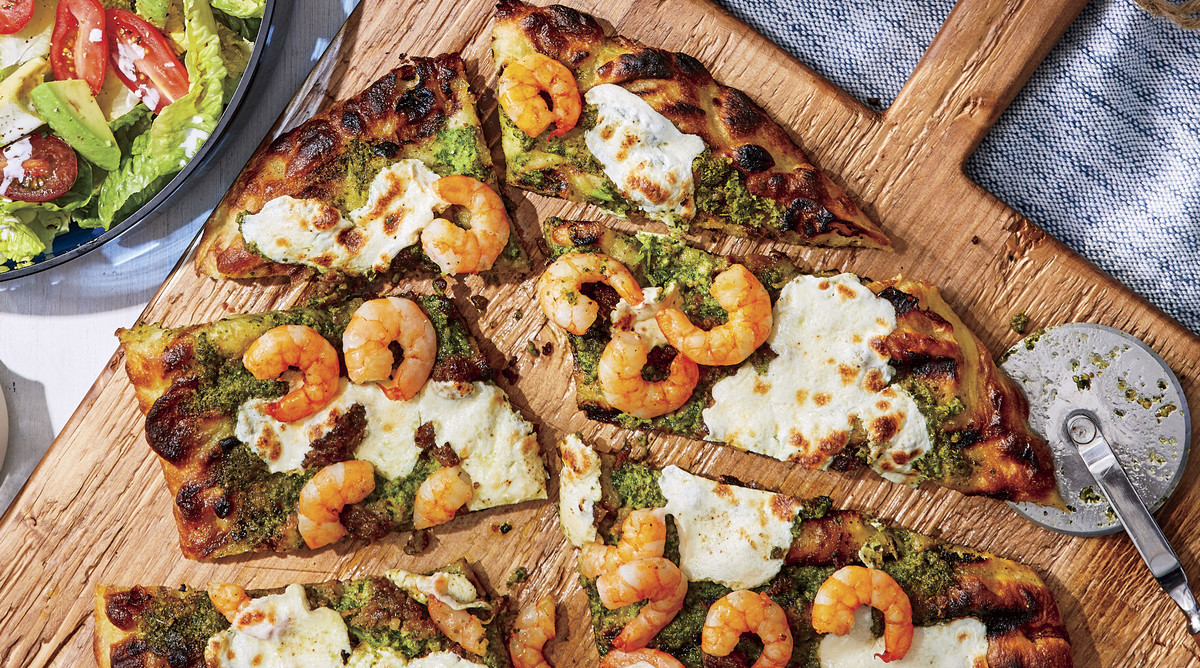 Sausage-and-Shrimp Pizzas with Spinach-Basil Pesto