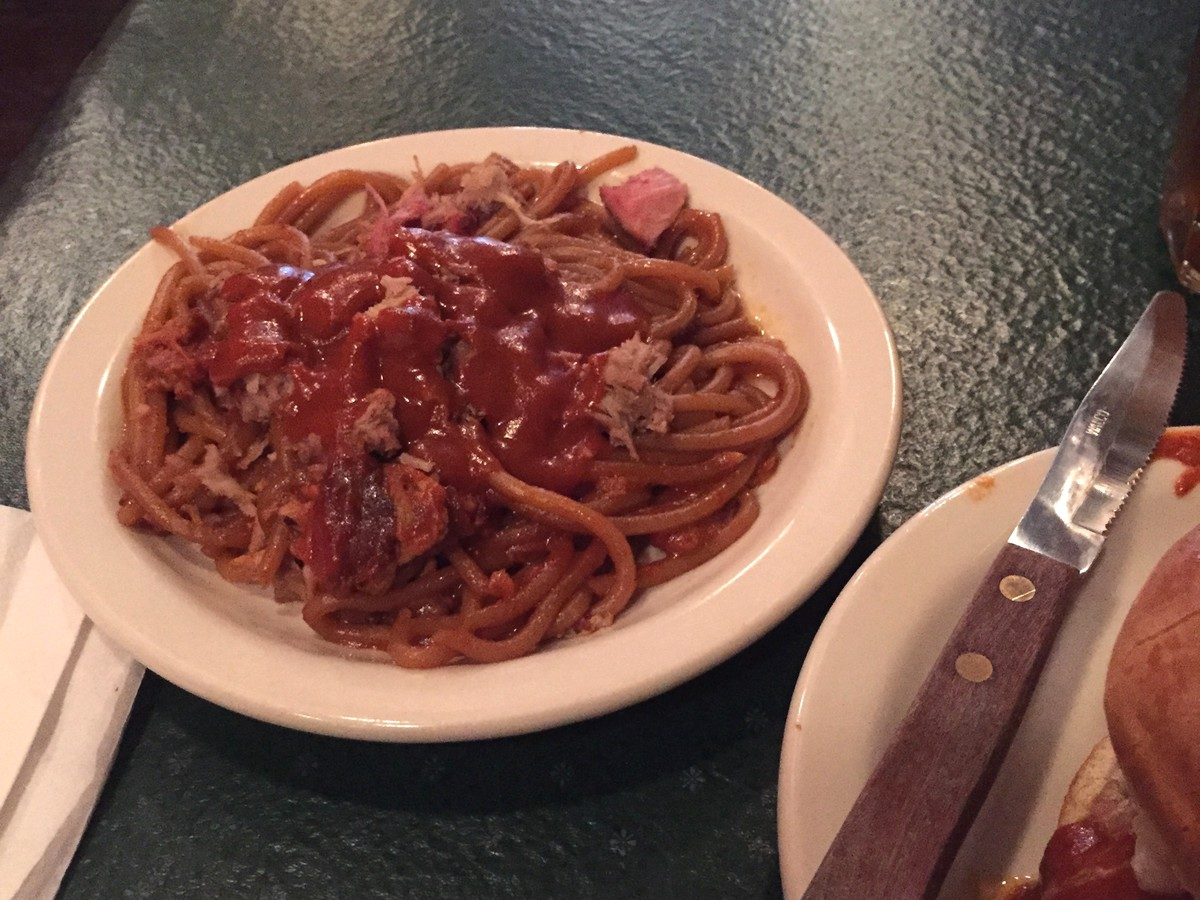 Barbecue Spaghetti, an iconic Memphis treat, at The Bar-B-Q Shop, inheritor of the original recipe.