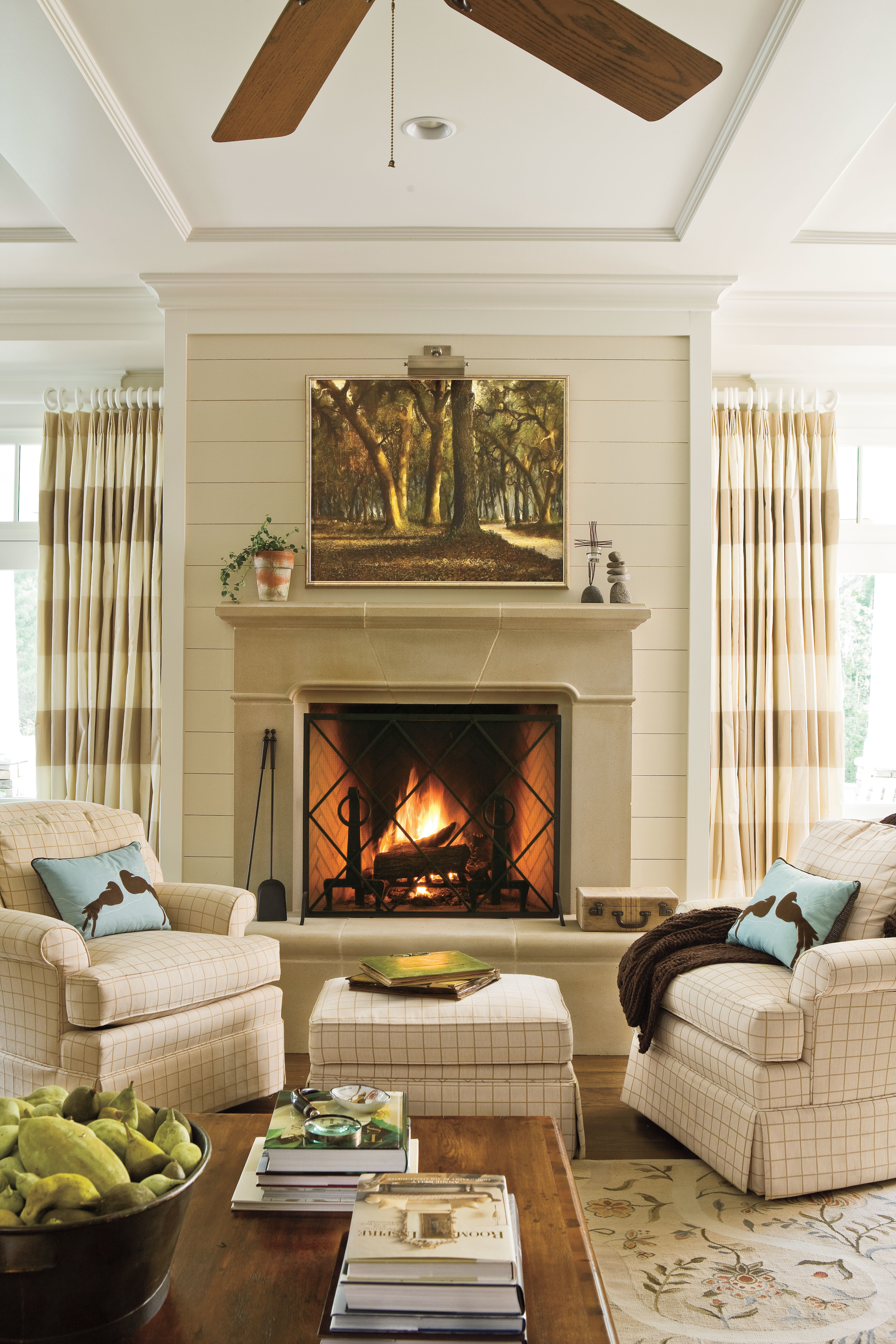 Decorating for living room with fireplace
