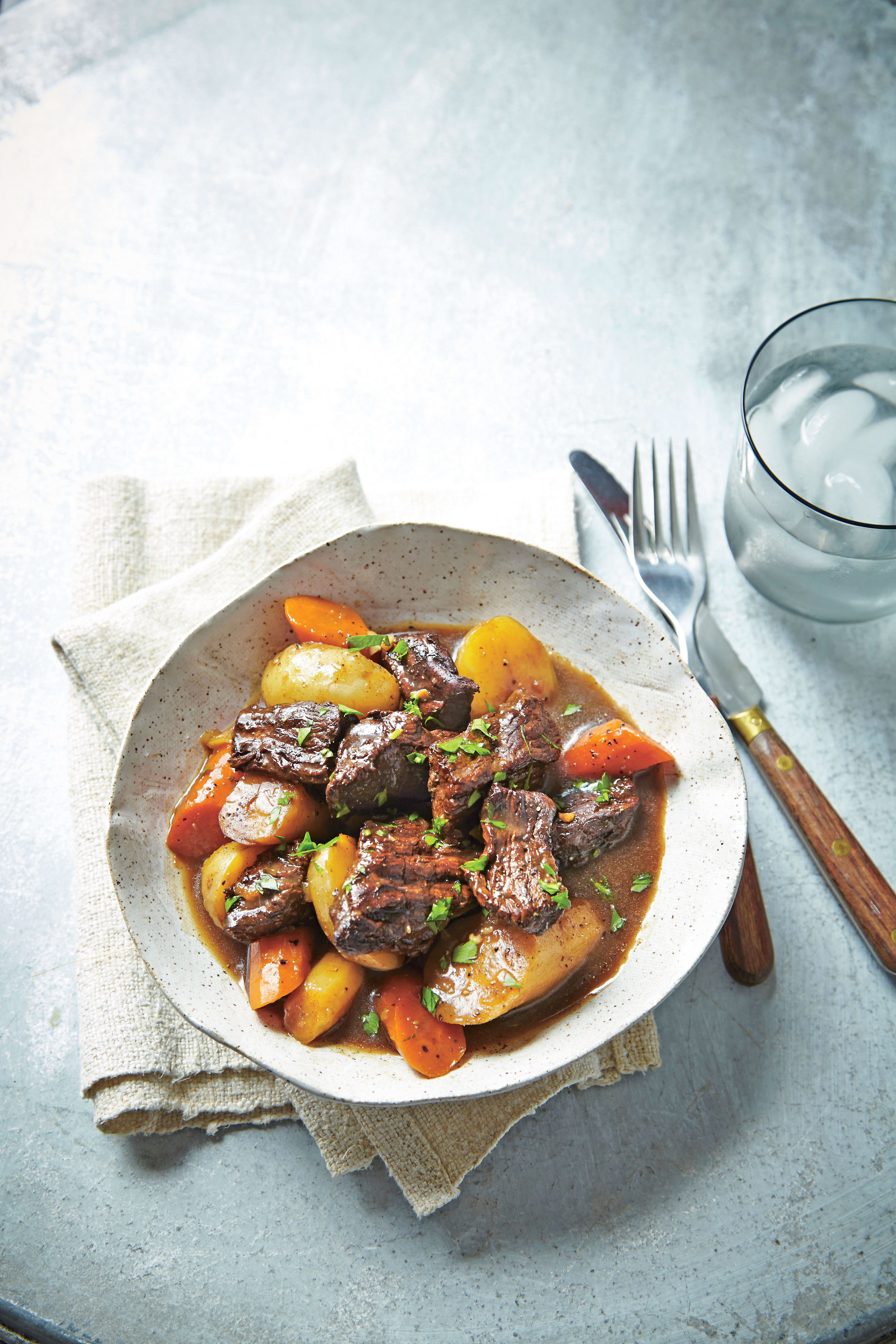 Beer-Braised Beef Tips with Root Vegetables and Horseradish Recipe