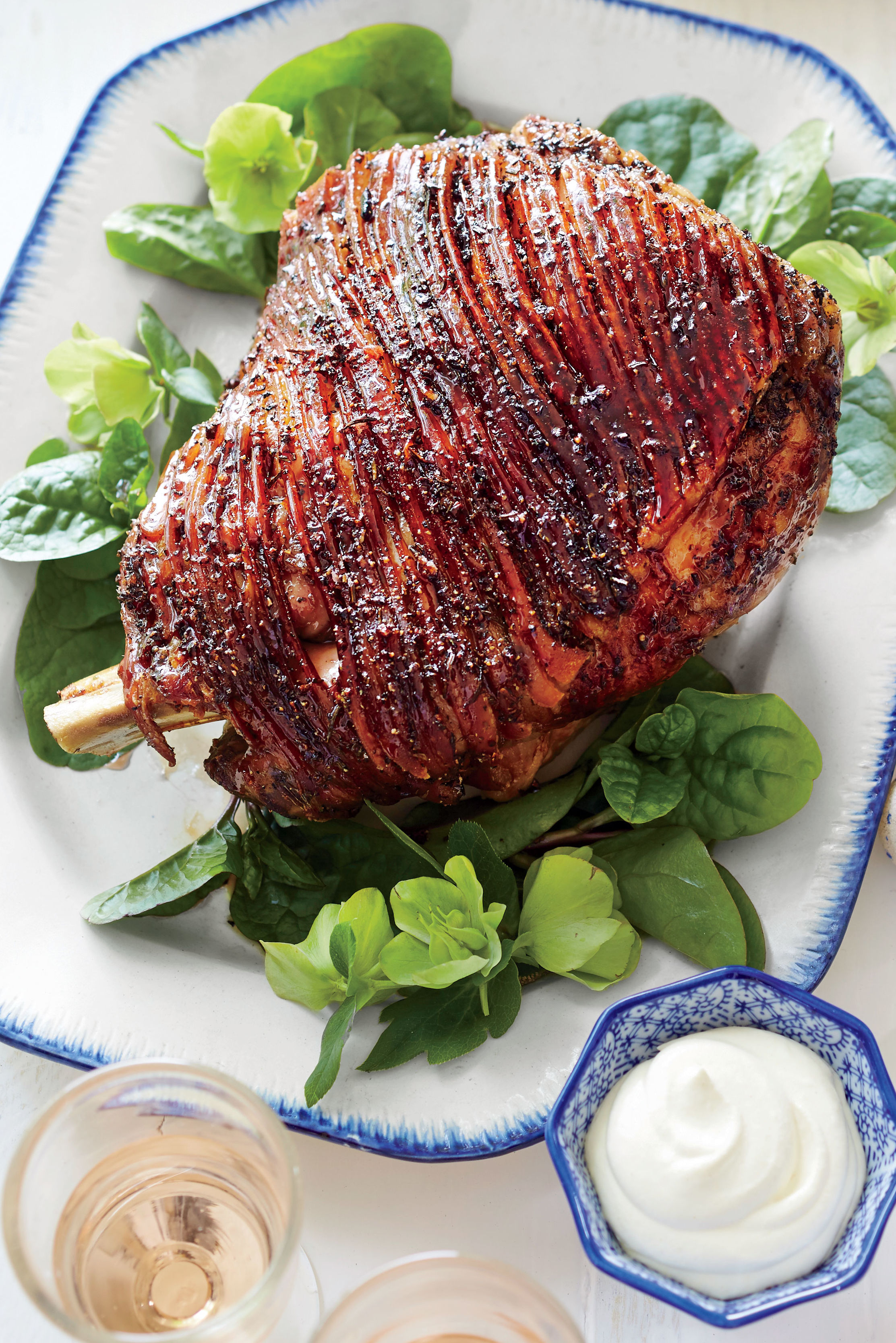 Honey-Port Lacquered Ham with Whipped Dijon Cream Recipe