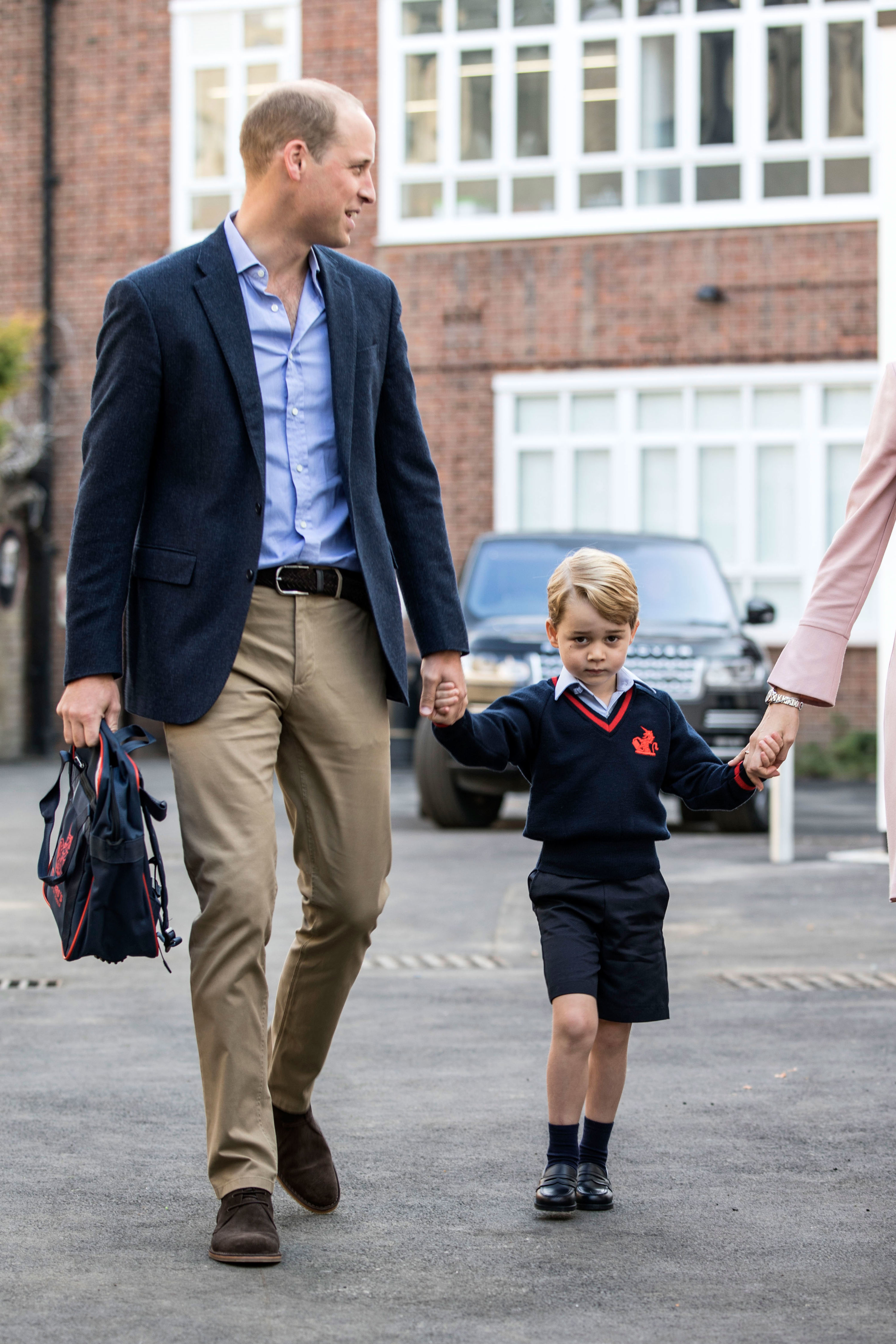 Prince George Starts First Day of School, with Dad By His Side