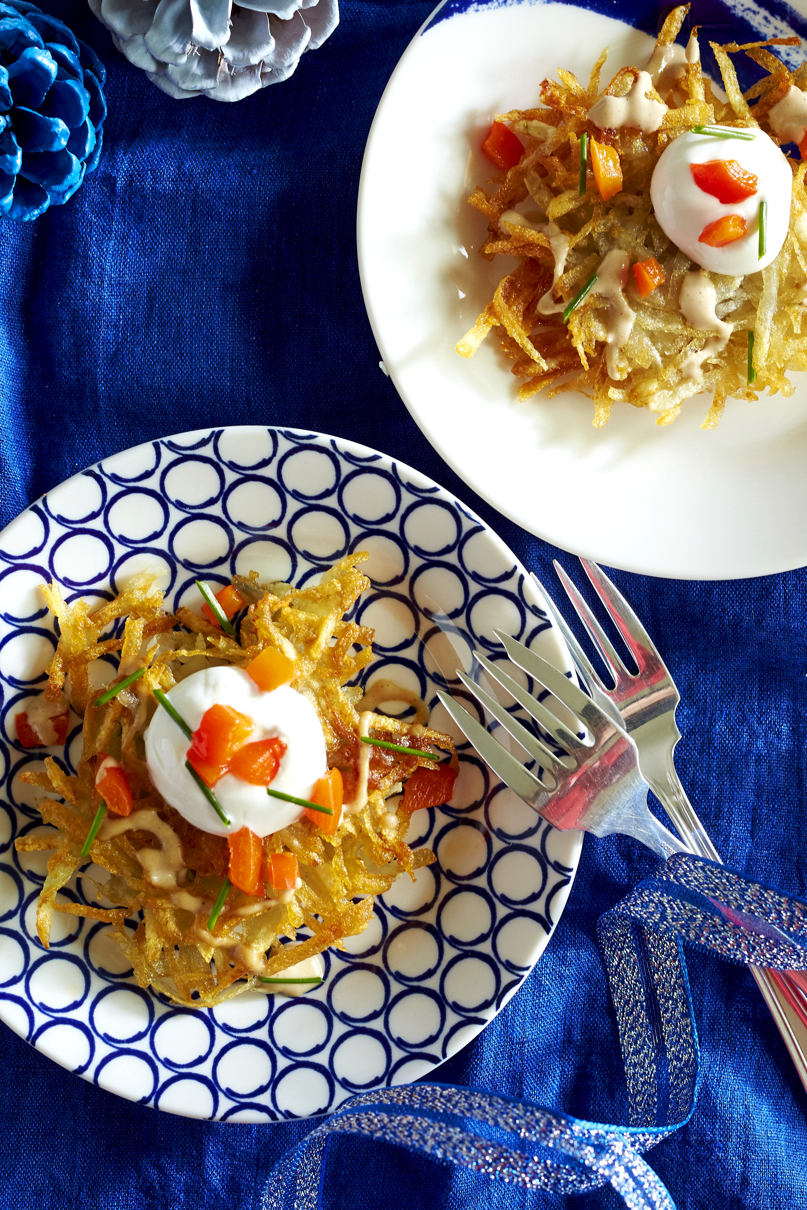 Potato Latkes with Tahini, Yogurt, and Roasted Red Pepper Topping Recipe