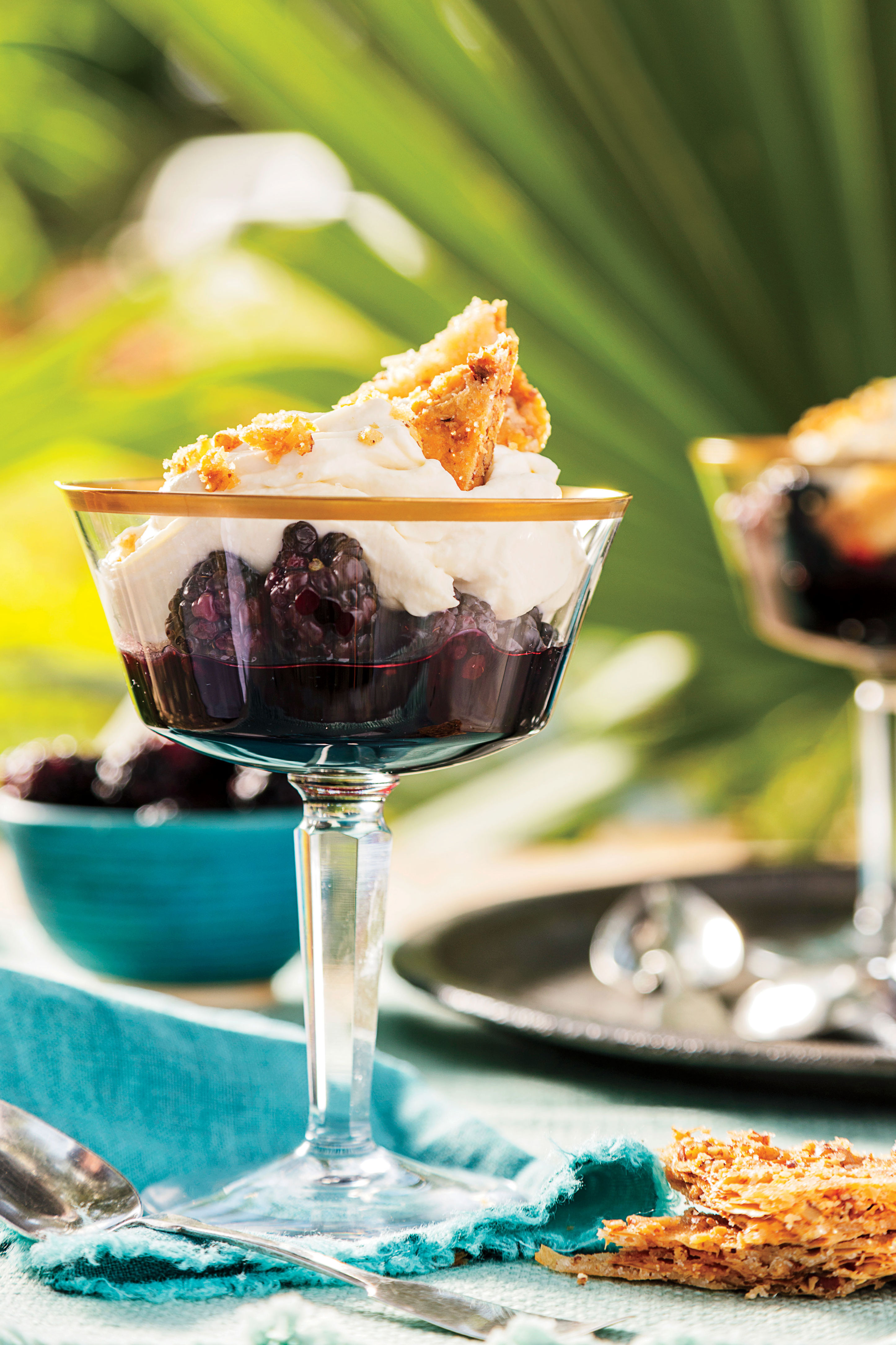 Blackberry Trifles with Pecan Feuilletage and Mascarpone-Cane Syrup Mousse Recipe