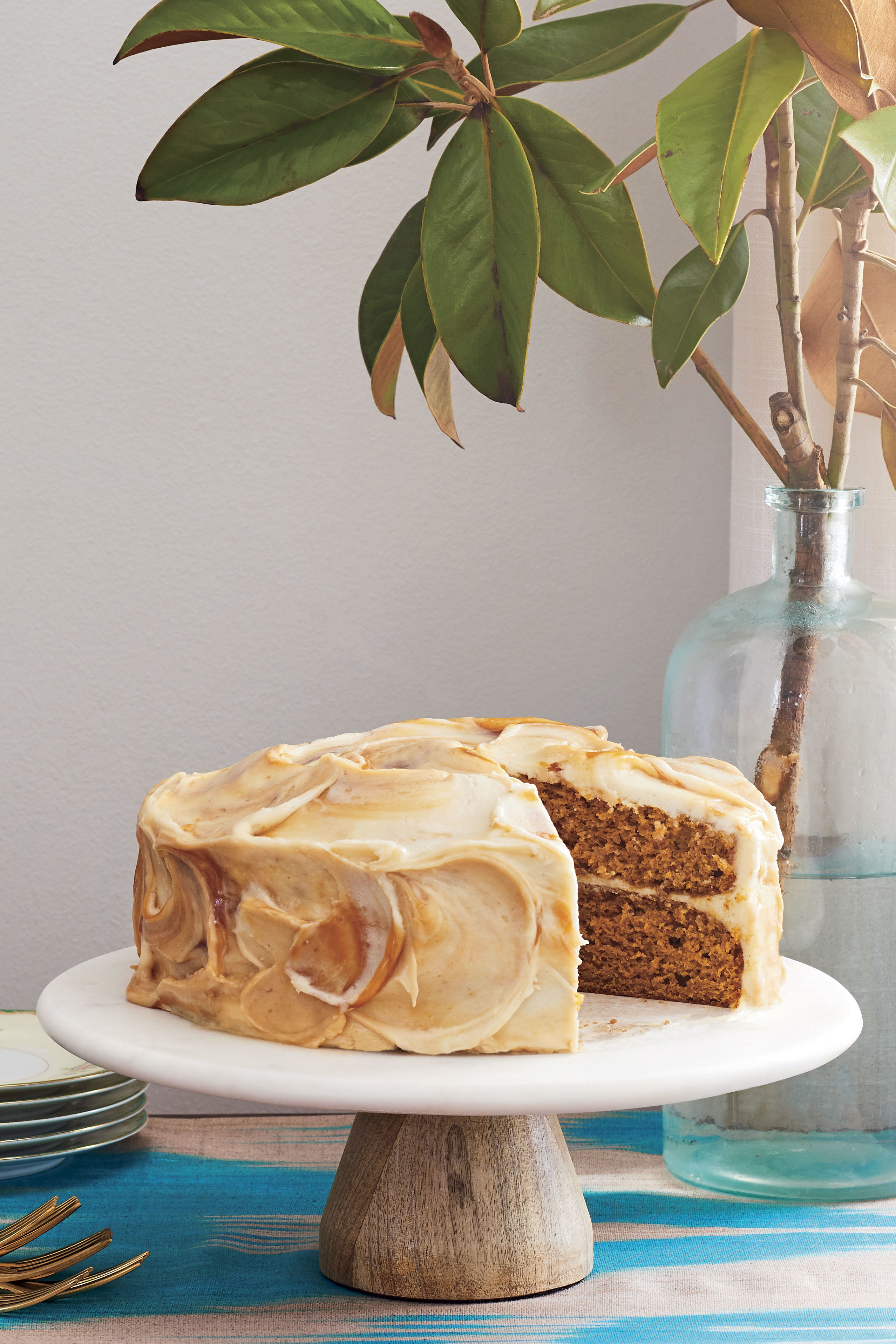 Pumpkin Layer Cake Recipe with Caramel-Cream Cheese Frosting