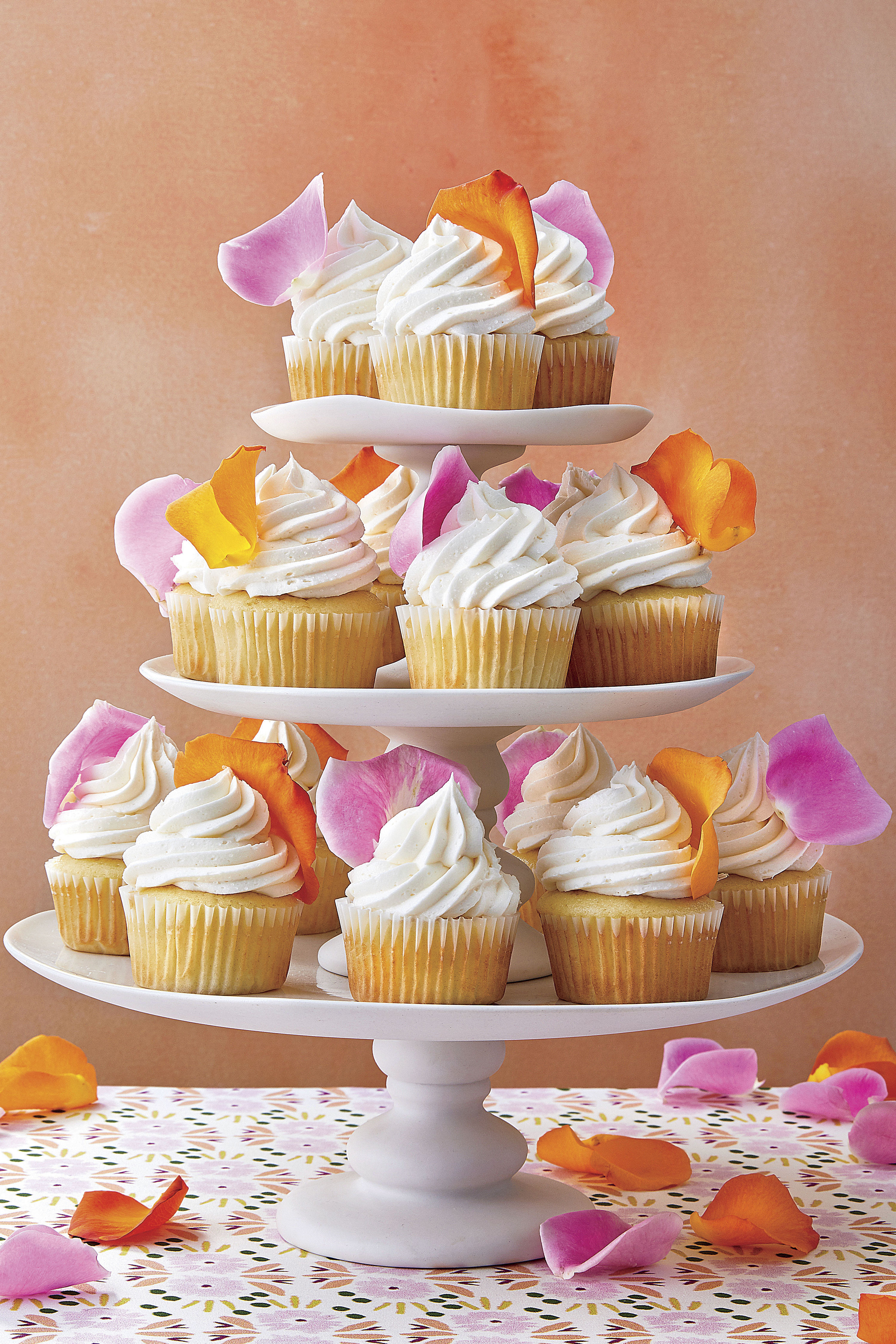 White Cupcakes with Rose Petals