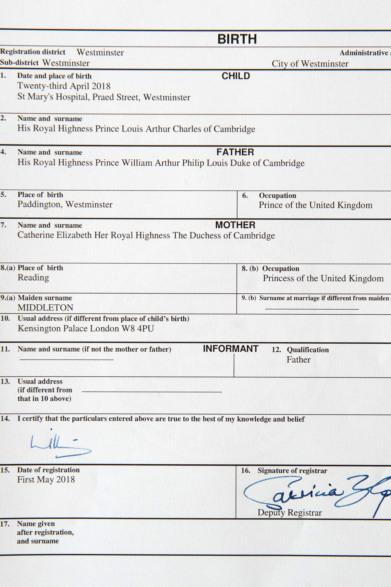 Prince Louis' Birth Certificate Released — and Will and Kate's Listed Occupations Are Priceless!