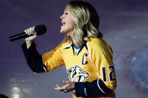 WATCH: Carrie Underwood Surprises Husband Mike Fisher's Nashville Predators with National Anthem Performance