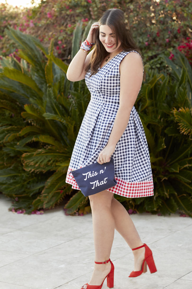 Gingham Blocked Fit & Flare Dres