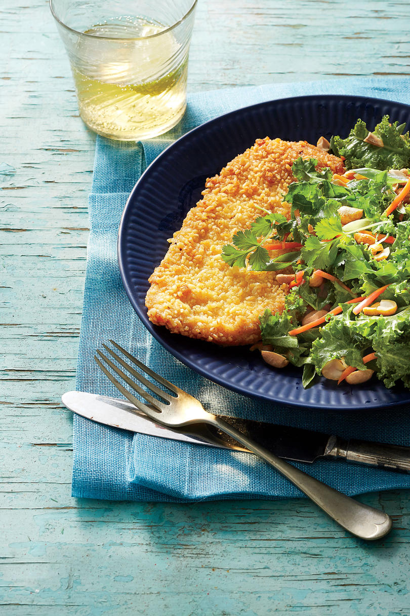 Crispy Ramen-Crusted Chicken with Asian Salad
