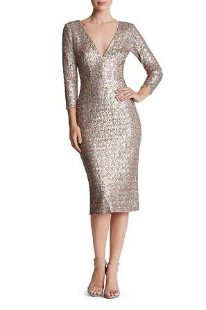 Deep-V Sequin Mother of the Bride Dress