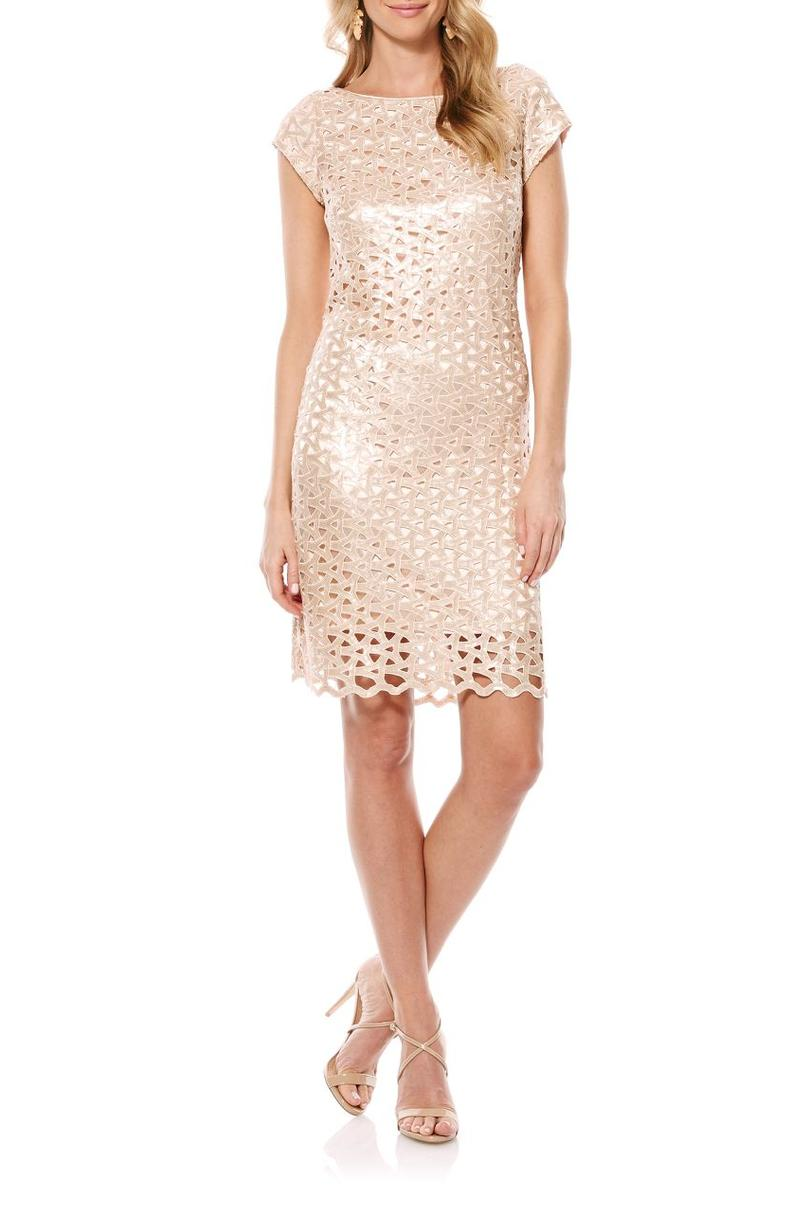 Lattice Shift Mother of the Bride Dress with A Cap Sleeve