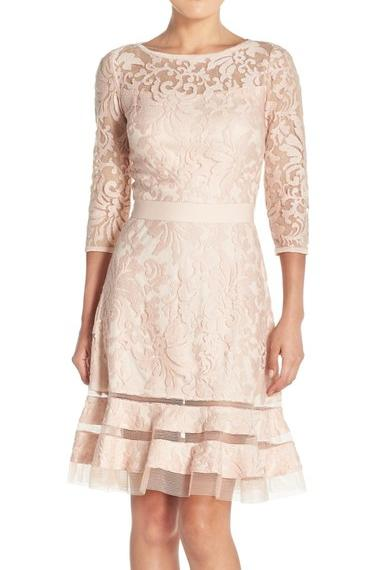 Lace Overlay Long Sleeve Dress