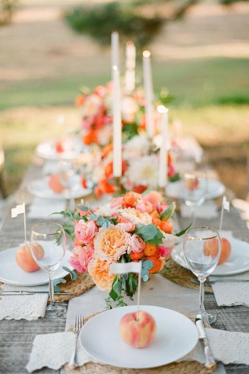 Peach Wedding Tablescape