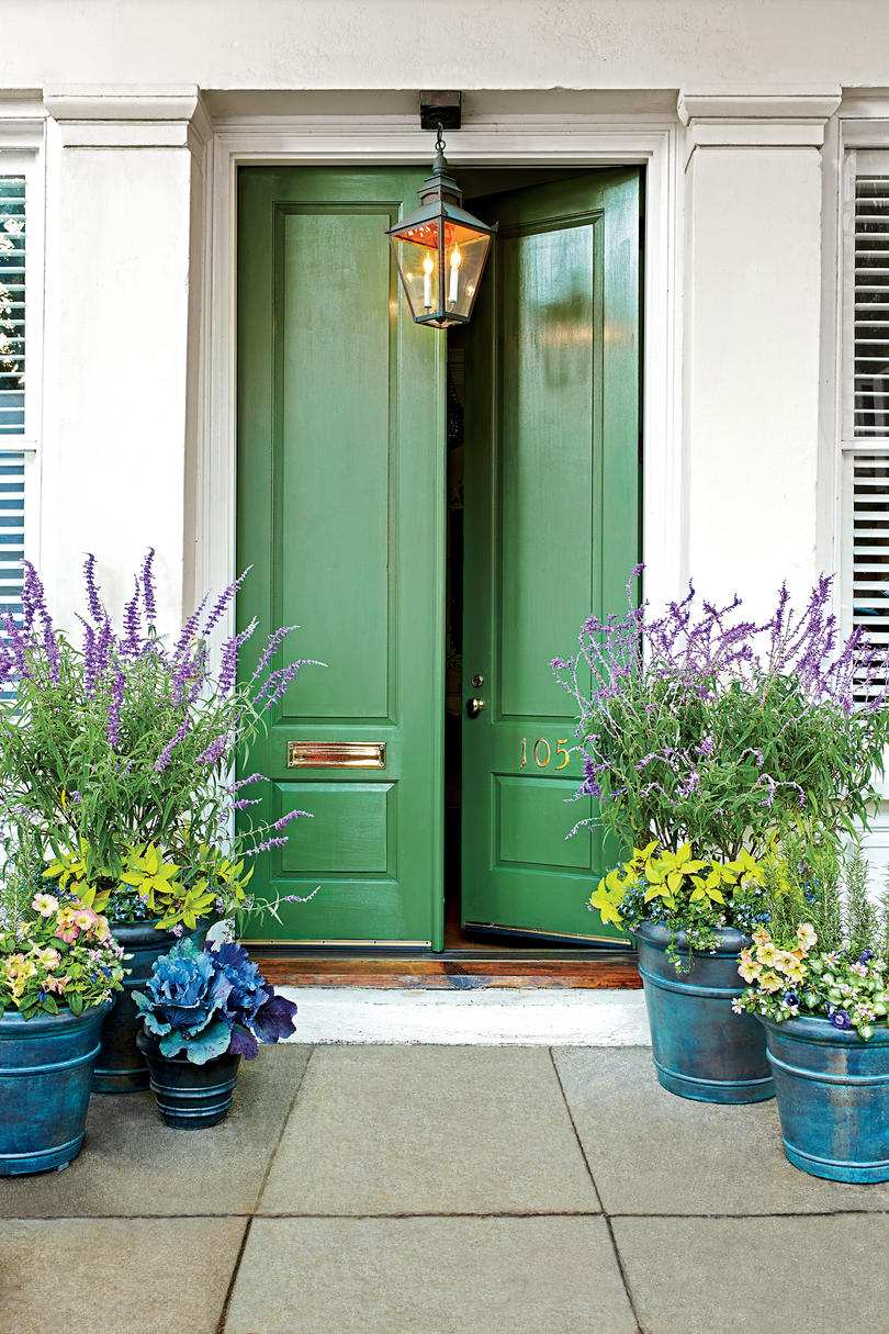 Green to Envy Front Door Containers