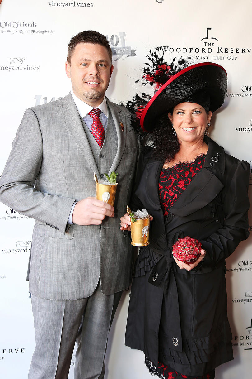 Red and Black Couple at the Kentucky Derby
