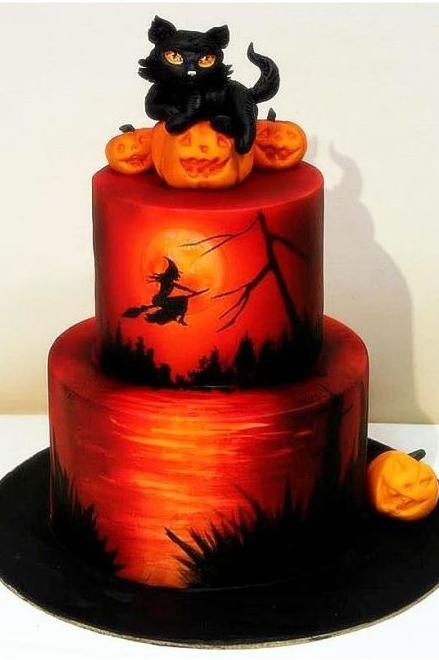 Black Cat Halloween Cake