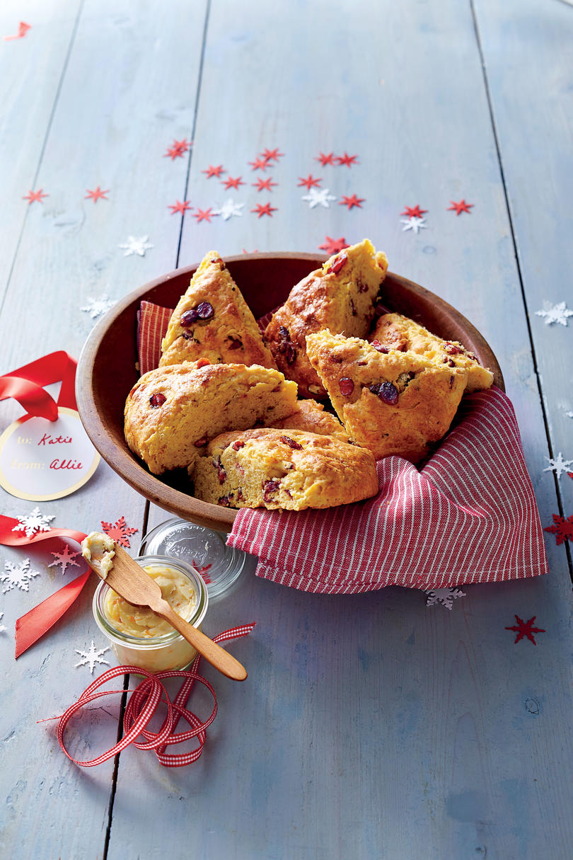 Sweet Potato-Cranberry Scones with Molasses-Orange Butter