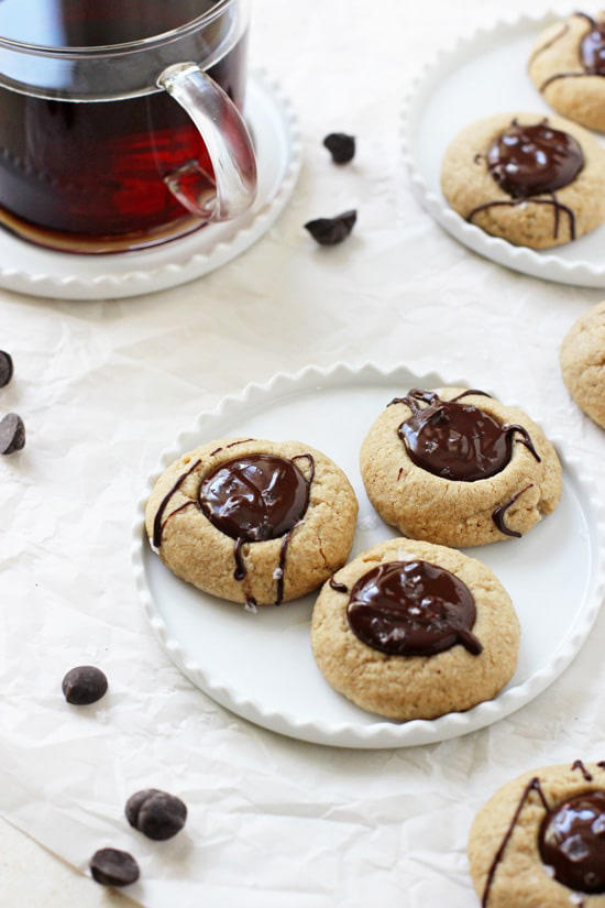 Peanut Butter Thumbprints with Salted Chocolate