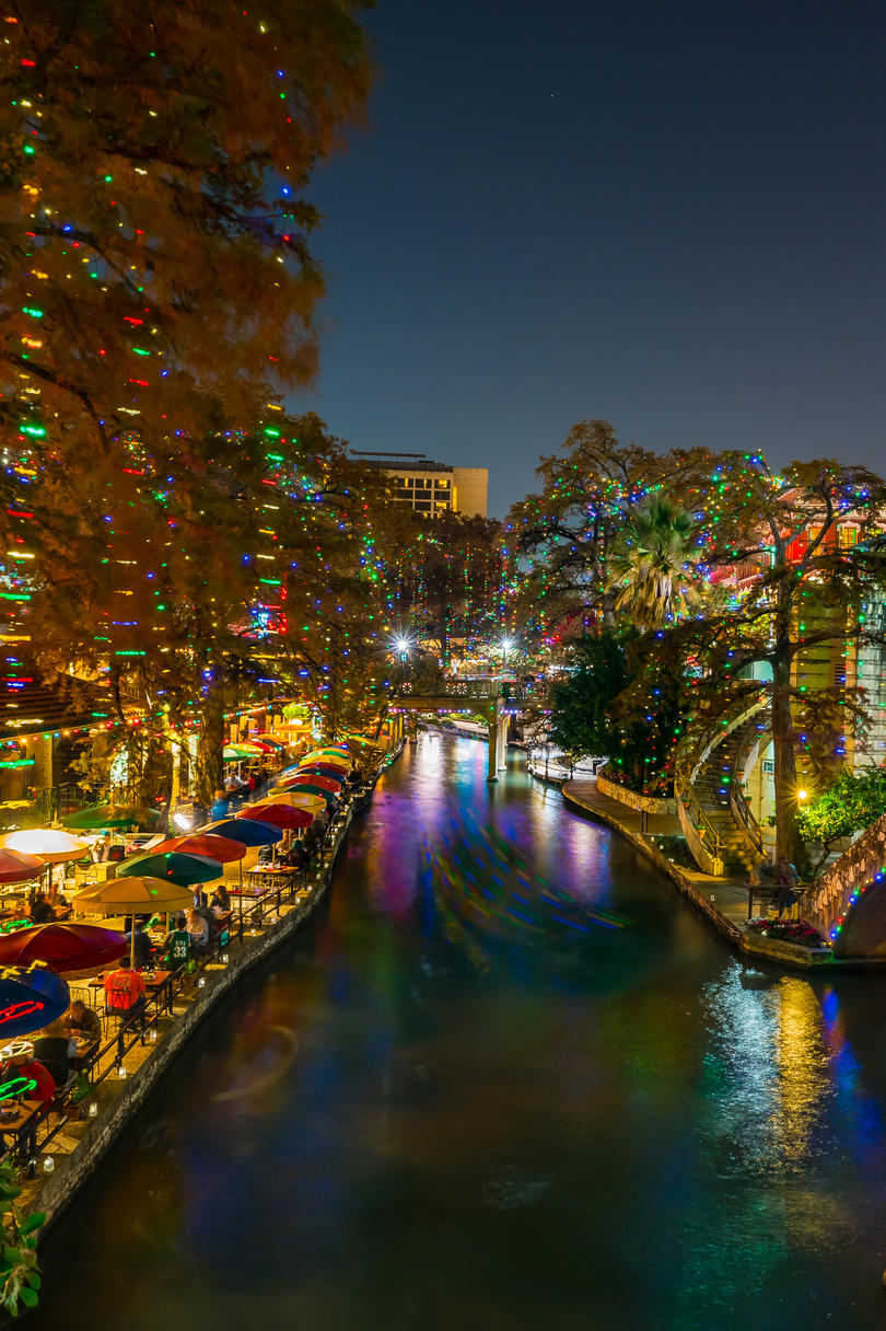 Holiday Lights on the River Walk in San Antonio, Texas
