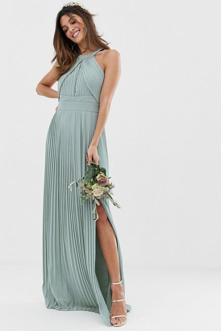 Pleated Maxi Dress in Sage