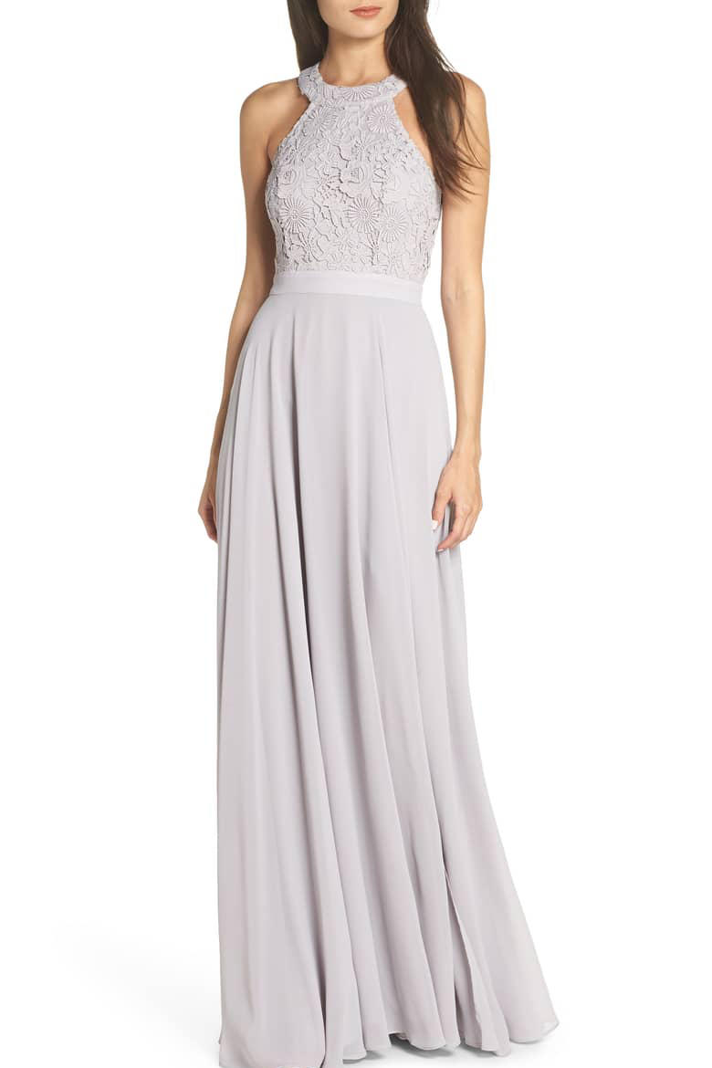 Love Poem Lace Halter Gown in Light Gray