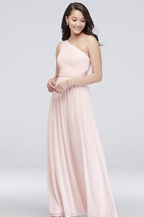 Micro-Pleated Mesh One-Shoulder Dress in Pale Pink