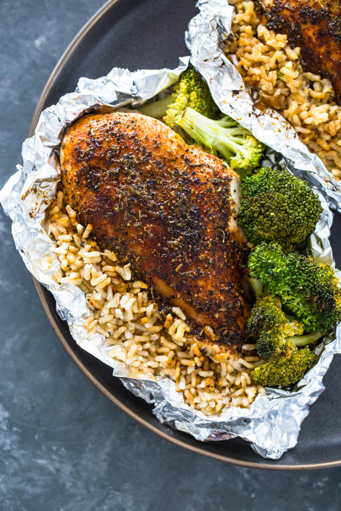 Foil Pack Chicken Rice and Broccoli