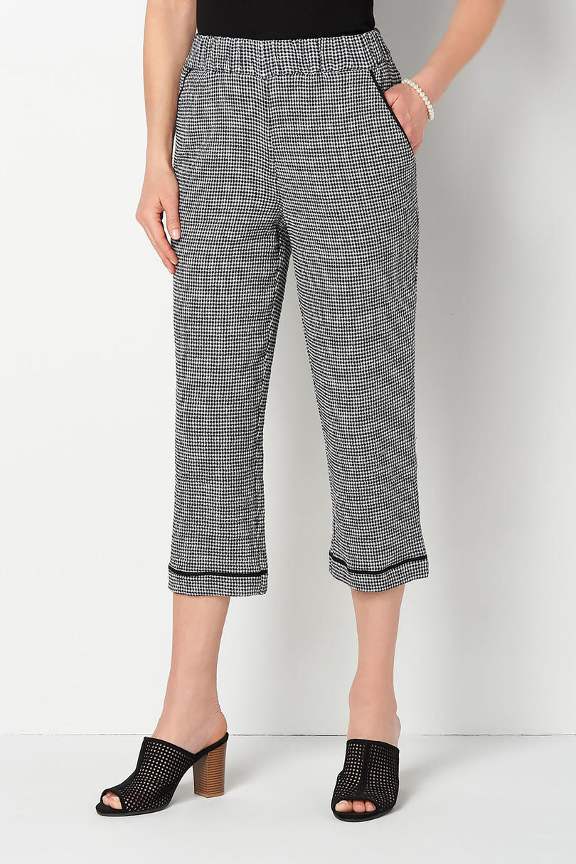 Black and White Gingham Soft Crop Pants