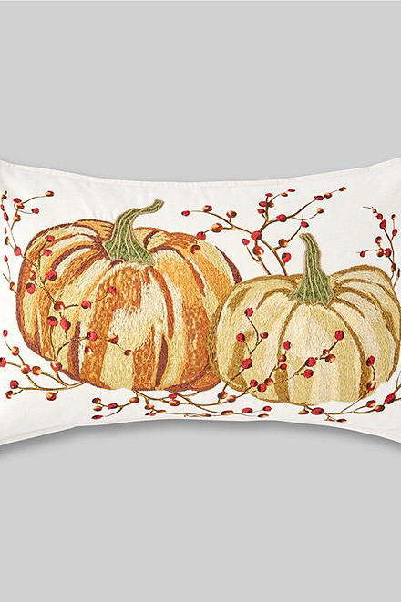 Festive Fall Collection Embroidered Pumpkin Breakfast Pillow