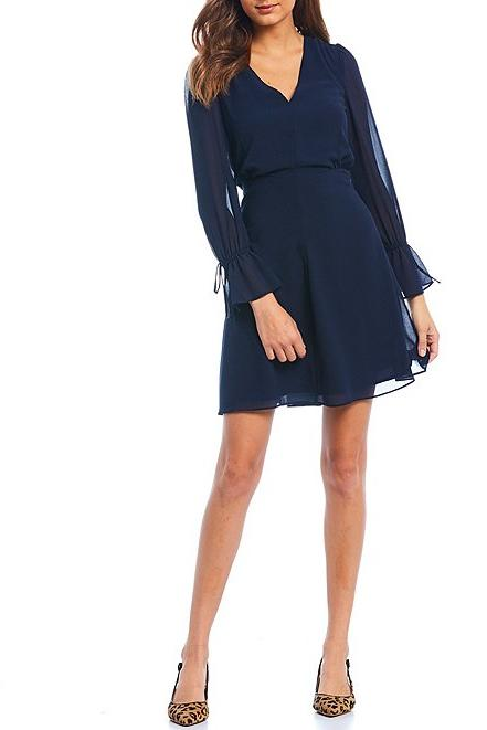 Long Tie Sleeve Chiffon Fit and Flare Dress