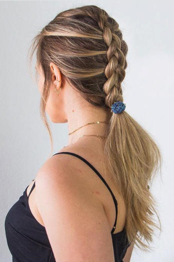 French-Braided Low Ponytail