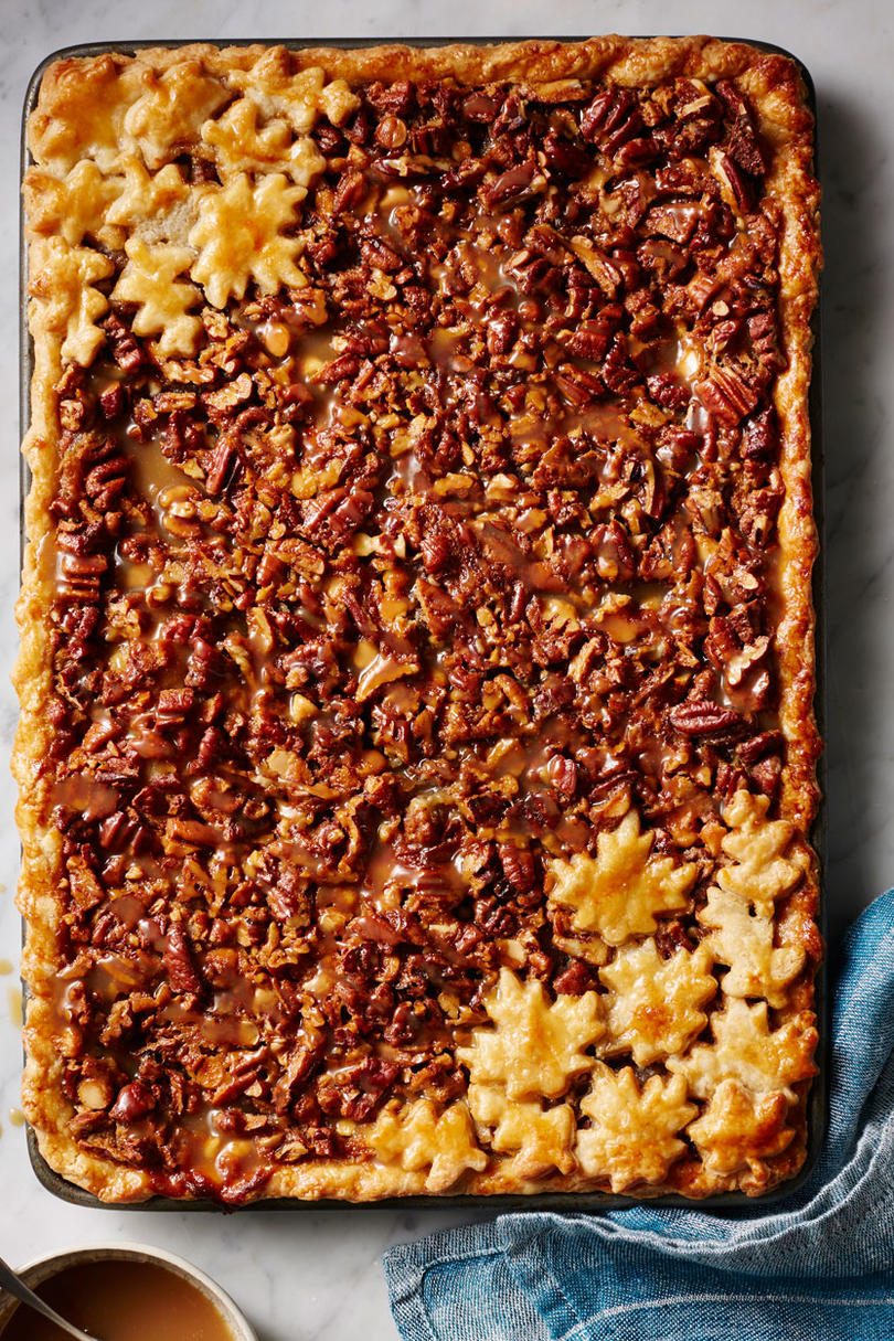 White Chocolate and Bourbon Pecan Slab Pie with Caramel Sauce