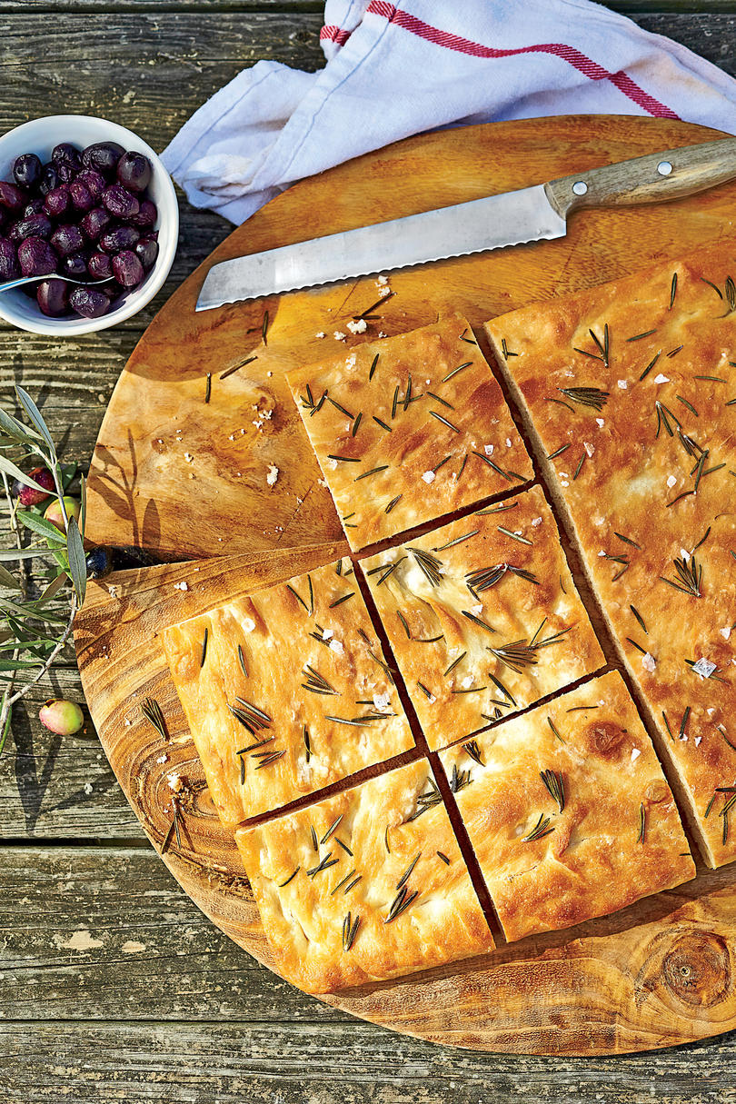 Rosemary Focaccia with Stewed Grapes and Olives