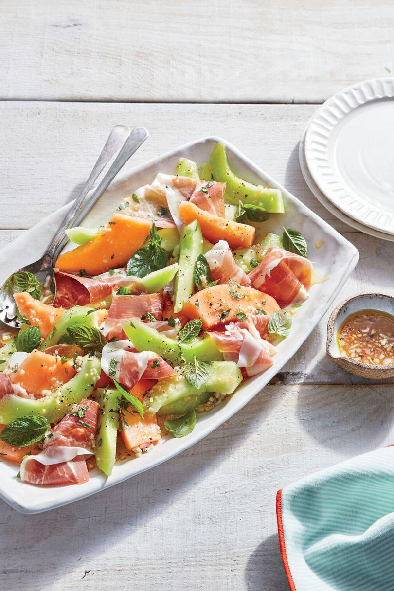 Summer Melon Salad with Ham and Mint Vinaigrette