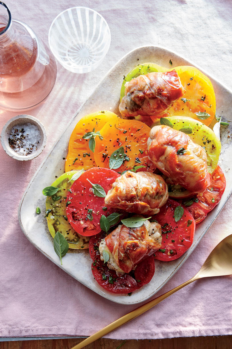 Prosciutto-Wrapped Chicken with Tomato-Basil Salad