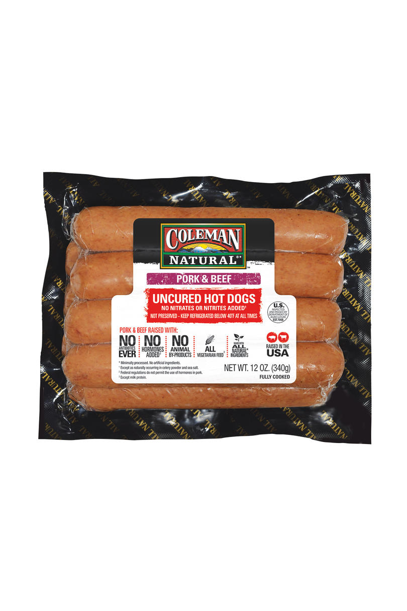 Best Pork and Beef:Coleman Natural Pork & Beef Uncured Hot Dogs