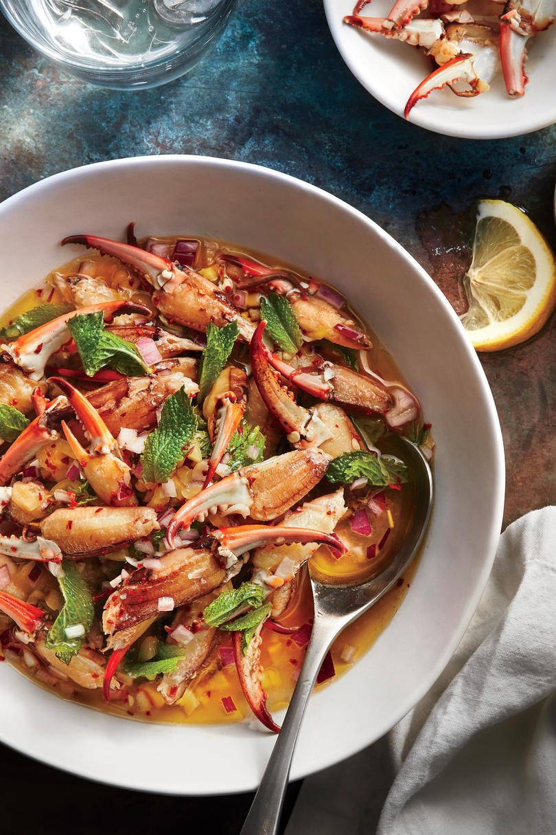 Crab Claws with Chili Vinegar and Mint, Pêche