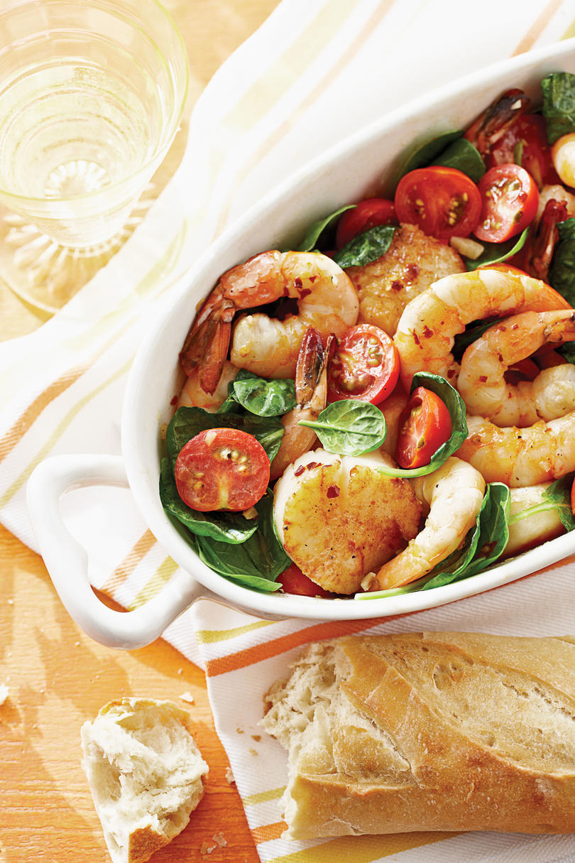 Broiled Shrimp and Scallops