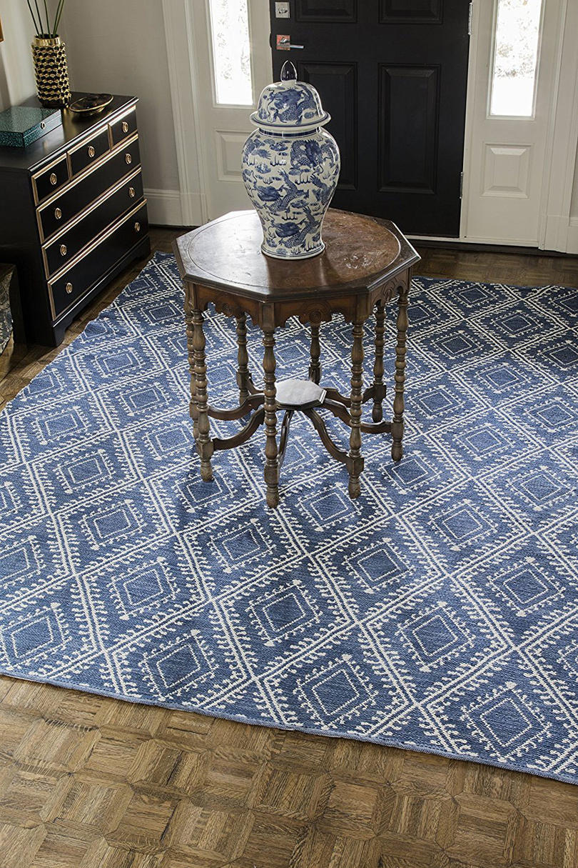 "Erin Gates Easton Collection Pleasant Indoor Outdoor Hand Woven Area Rug 5' x 7'6"", Navy Blue"