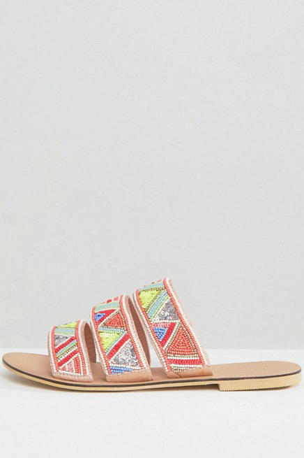 Faith Fabia Beaded Flat Sandals