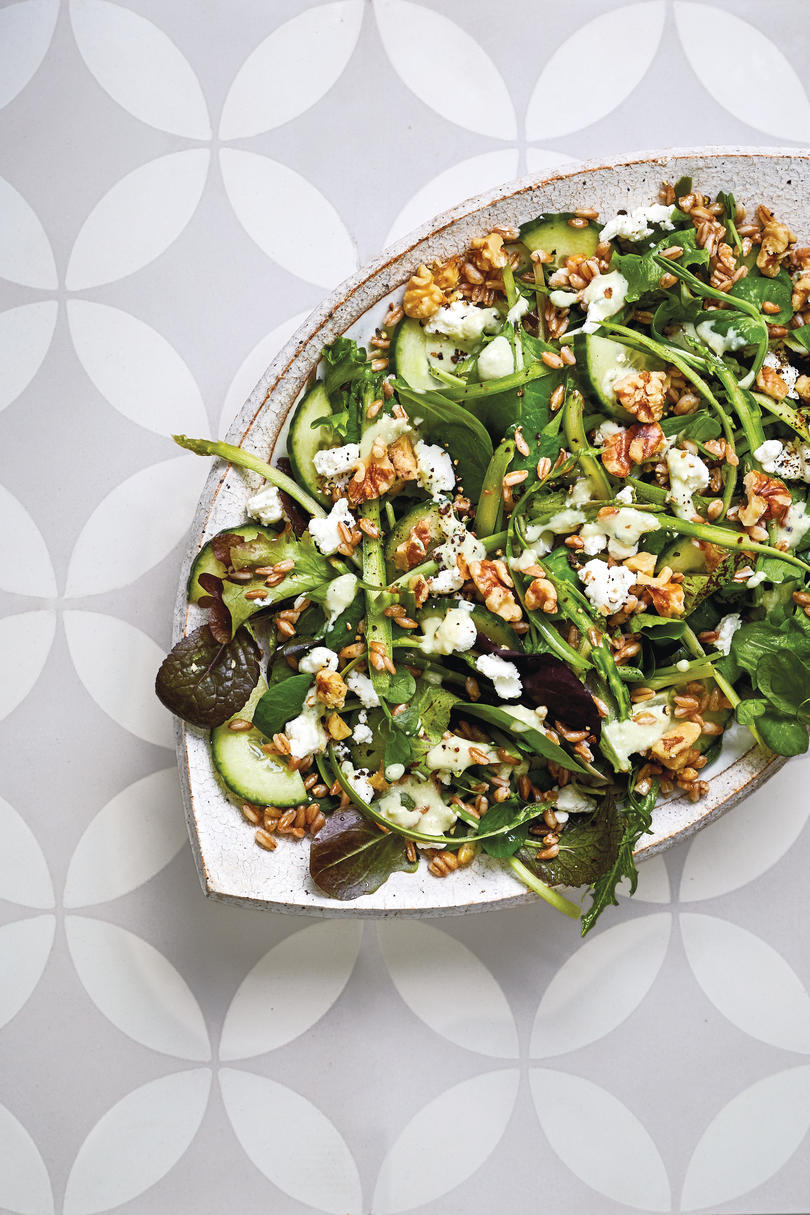 Farro-Baby Greens Salad With Cucumber and Goat Cheese
