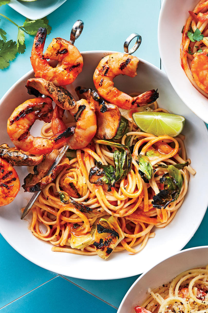 Grilled Shrimp Satay with Shiitake Mushrooms, Baby Bok Choy, and Udon Noodles
