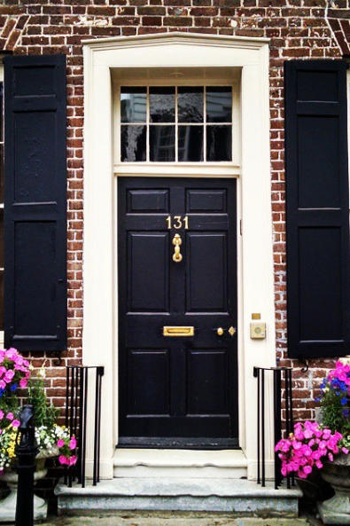 Black Door on Red Brick
