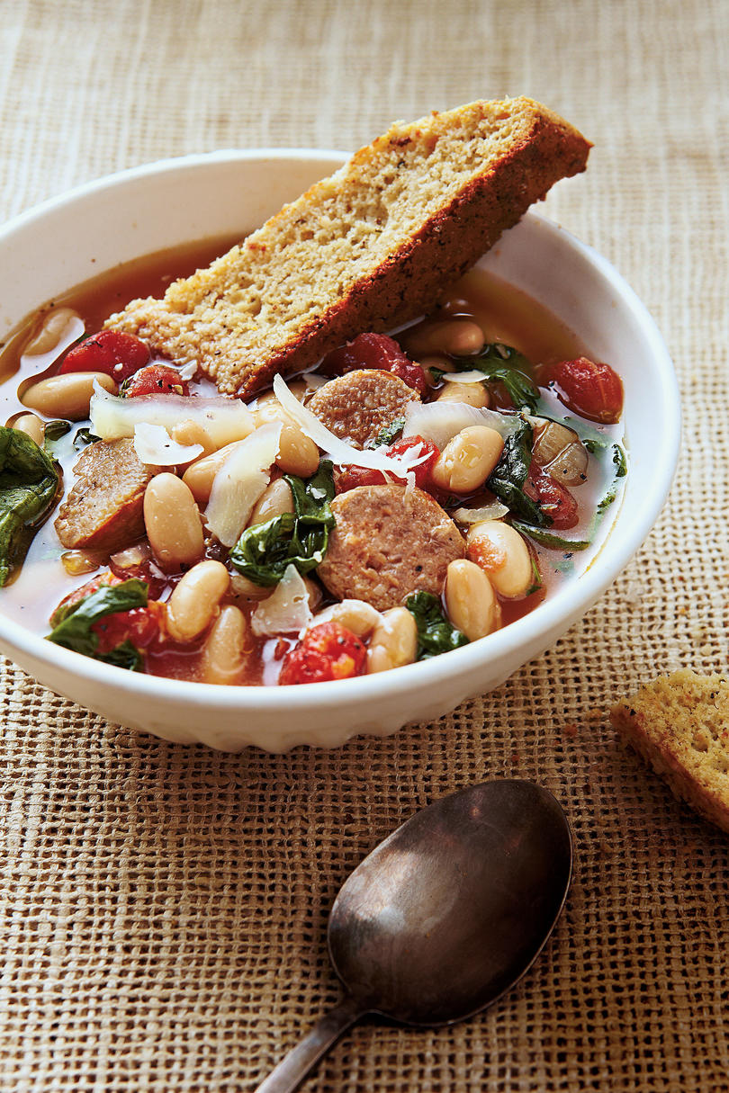 Hearty Italian Soup with Parmesan-Pepper Cornbread Biscotti