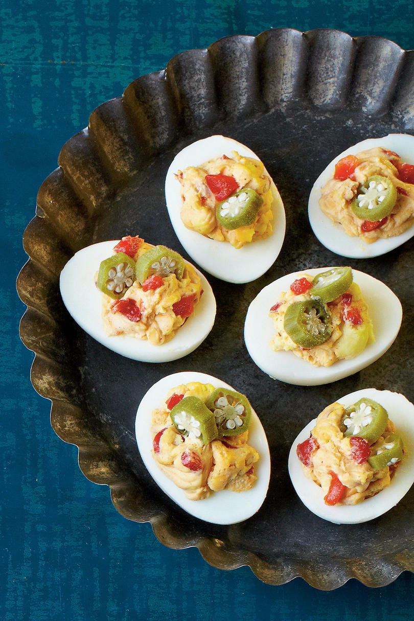 Smoky Pimiento Cheese Deviled Eggs