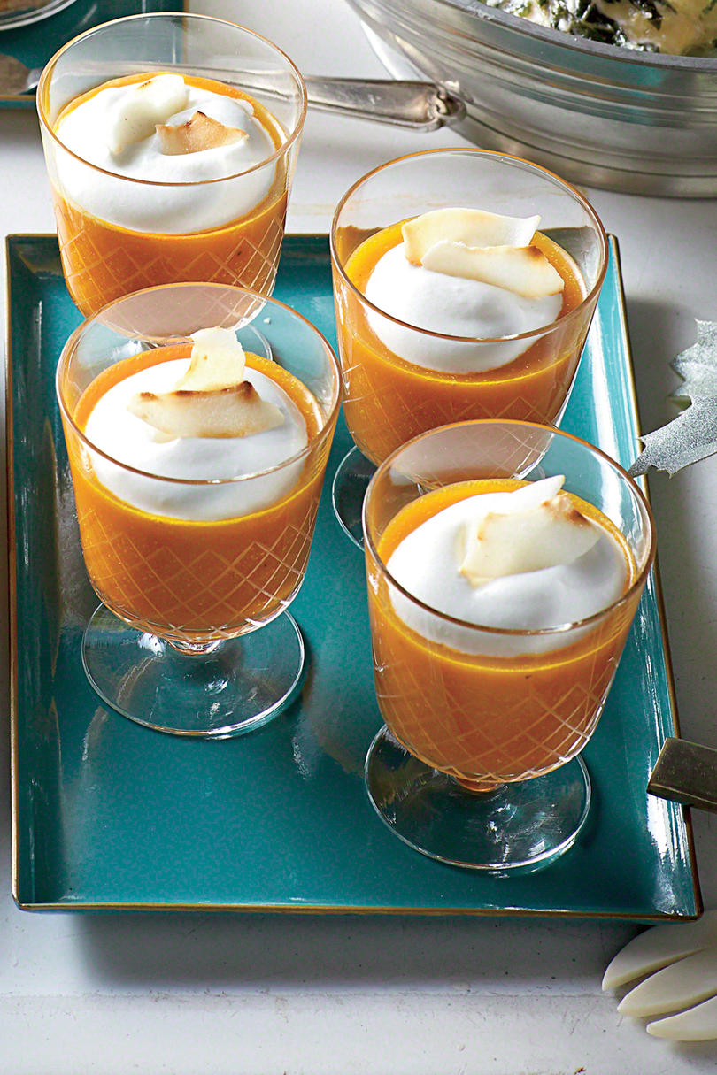 Pumpkin-Carrot Soup Shooters With Coconut Cream
