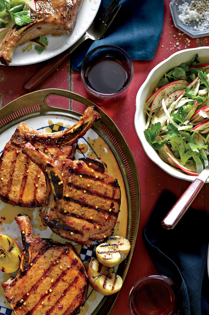 Grilled Pork Chops with Apple-Bourbon Glaze