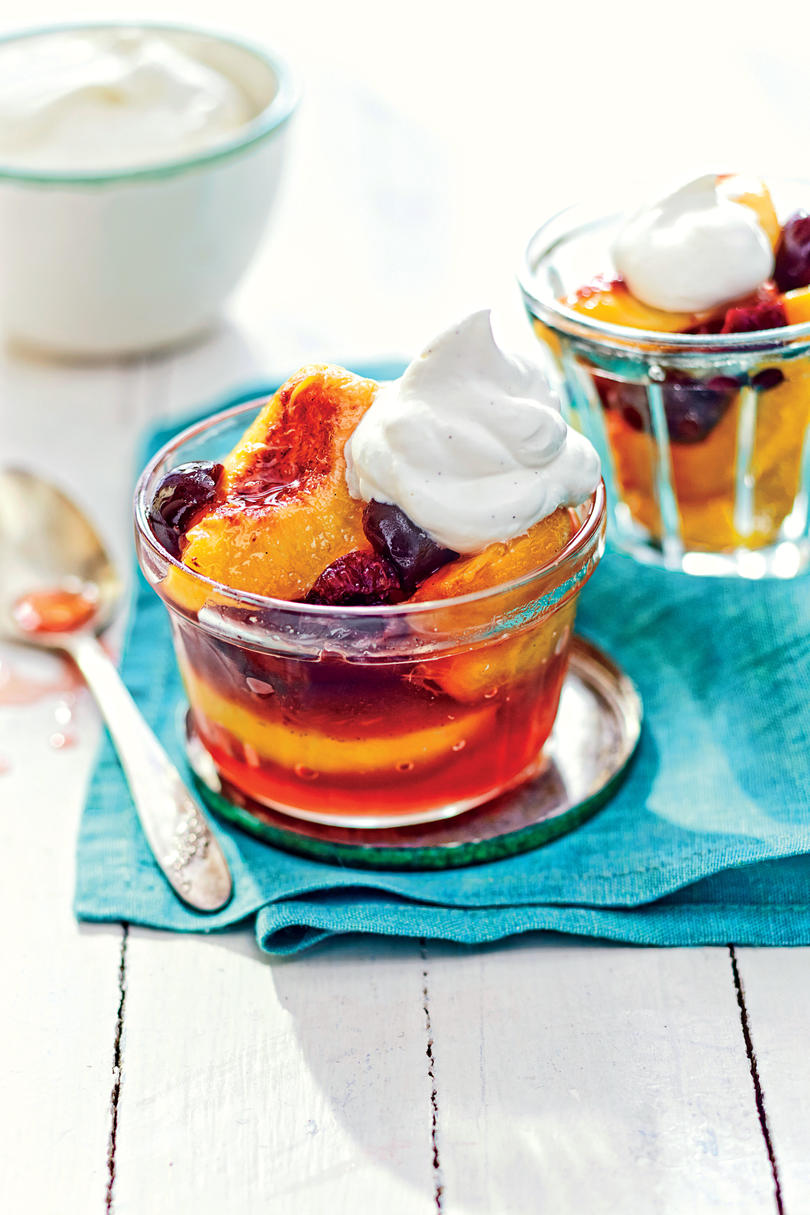 Riesling-Poached Peaches and Cherries